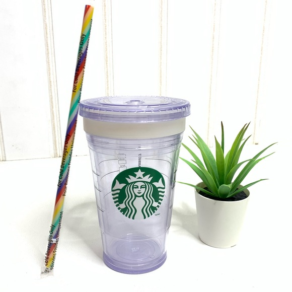 Starbucks Other - 🌵Reusable Starbucks Cup Cold Clear Rainbow Straw